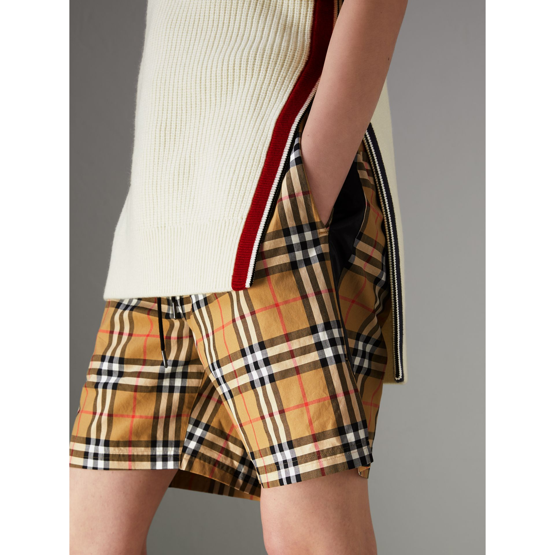 Vintage Check Drawstring Shorts in Antique Yellow - Women | Burberry United Kingdom - gallery image 4