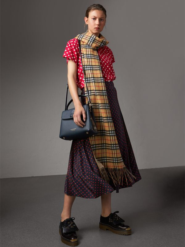 Small Grainy Leather and House Check Tote Bag in Ink Blue - Women | Burberry - cell image 2
