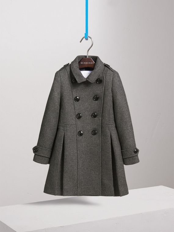 Technical Wool Cashmere Double-Breasted Coat in Mid Grey Melange - Girl | Burberry Canada - cell image 2