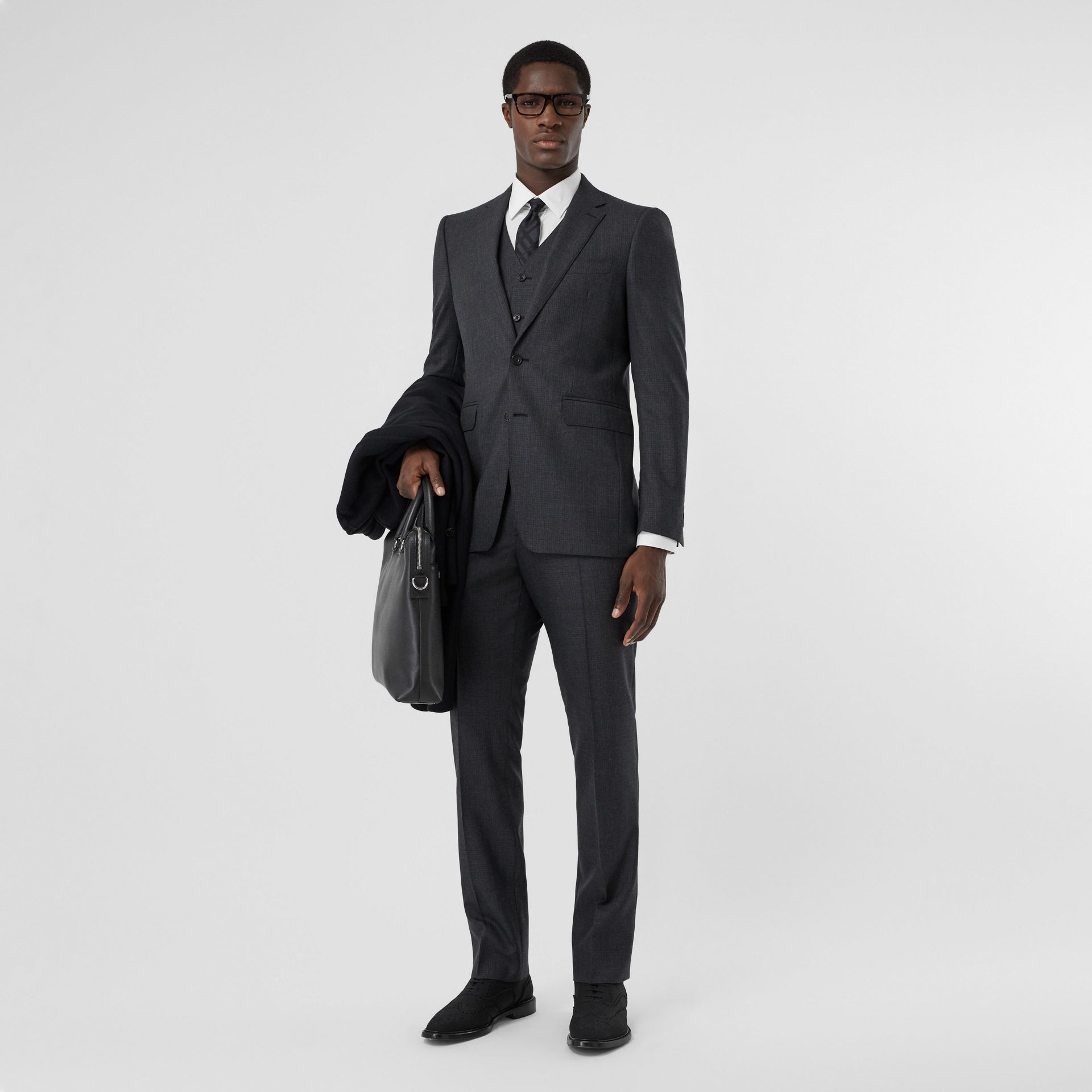 Classic Fit Windowpane Check Wool Three-piece Suit in Charcoal - Men | Burberry - gallery image 0