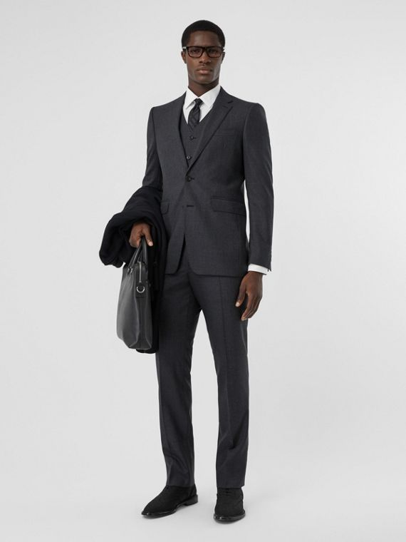 Classic Fit Windowpane Check Wool Three-piece Suit in Charcoal