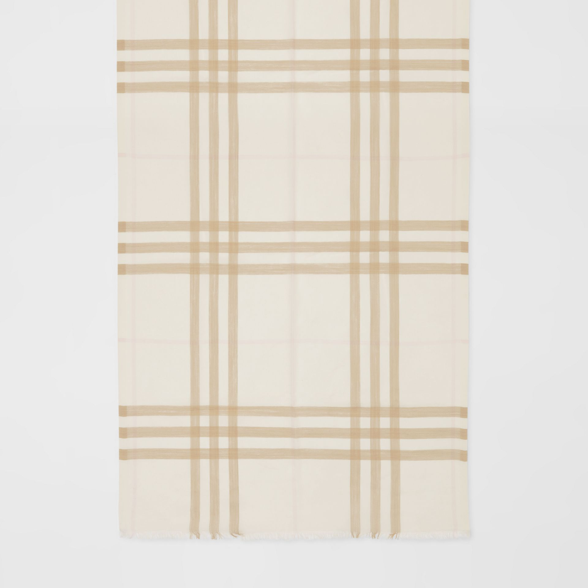 Lightweight Check Wool Silk Scarf in White/alabaster | Burberry - gallery image 4