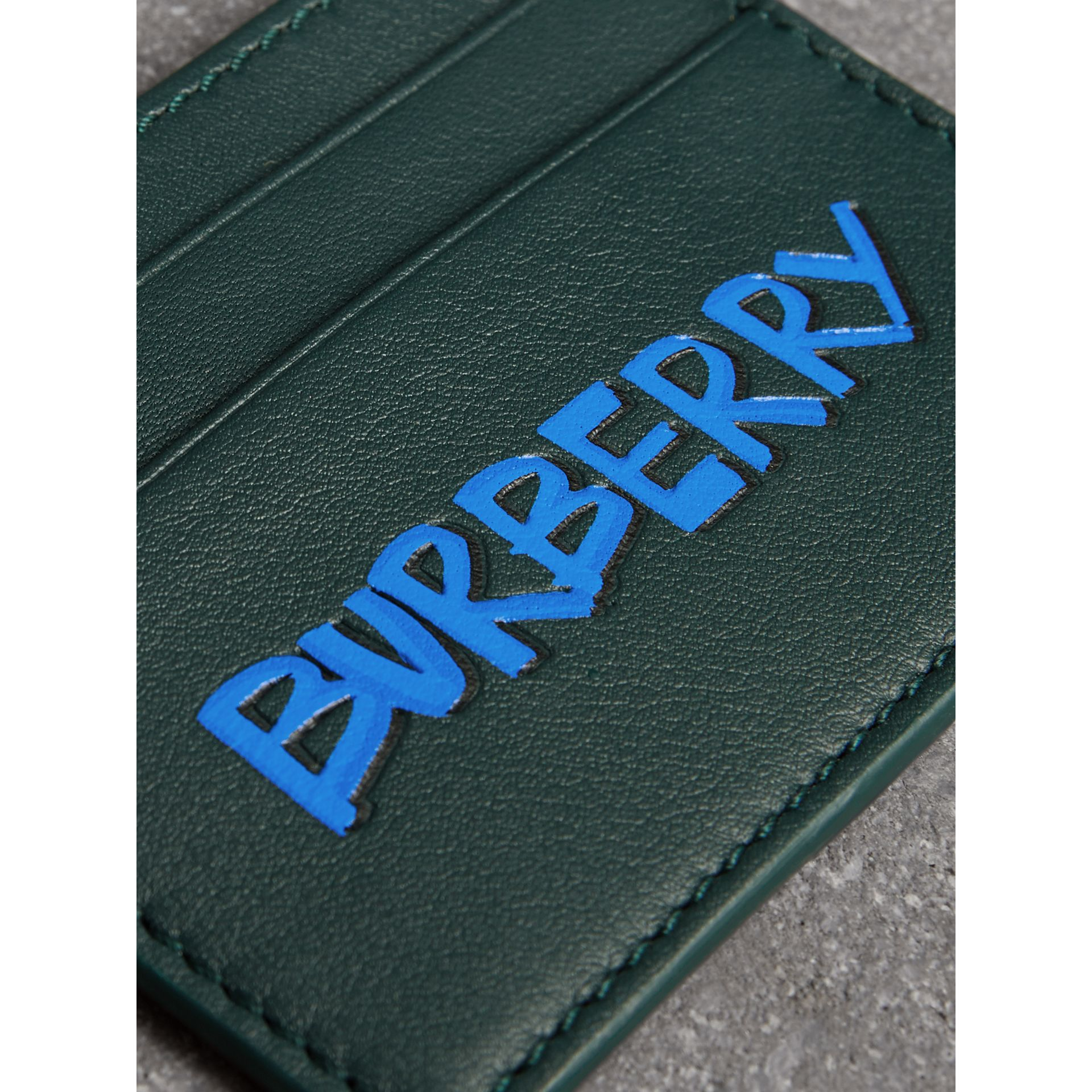 Graffiti Print Leather Card Case in Deep Bottle Green | Burberry - gallery image 1