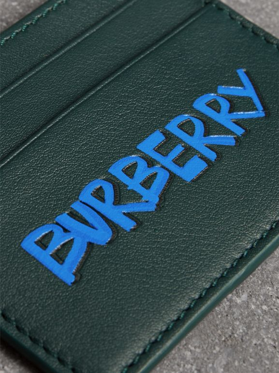 Graffiti Print Leather Card Case in Deep Bottle Green | Burberry - cell image 1
