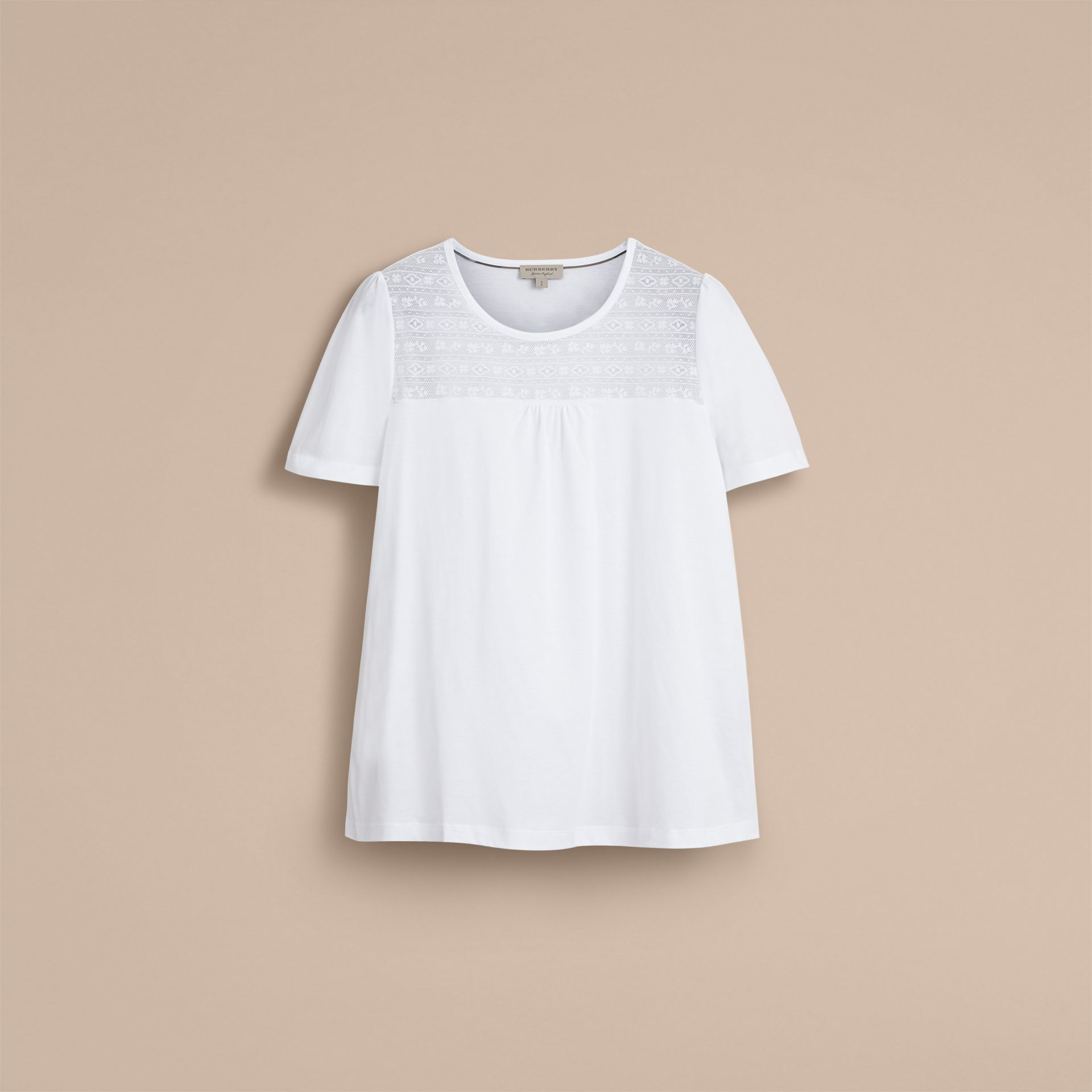 Lace Panel Cotton T-shirt in White - Women | Burberry - gallery image 4