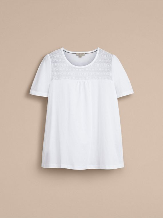Lace Panel Cotton T-shirt in White - Women | Burberry - cell image 3