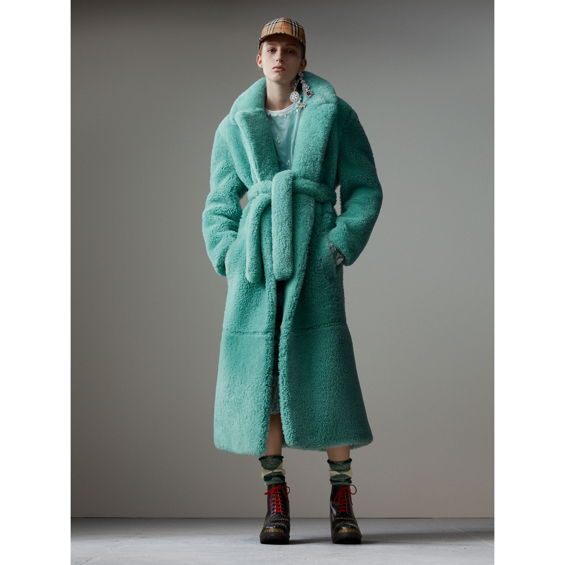Shearling Oversized Coat in Turquoise - Women | Burberry United Kingdom - gallery image 1