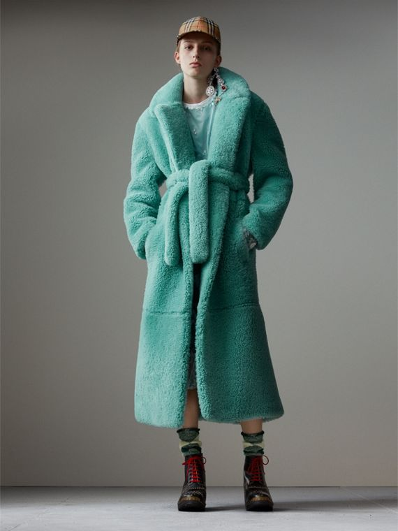 Shearling Oversized Coat in Turquoise