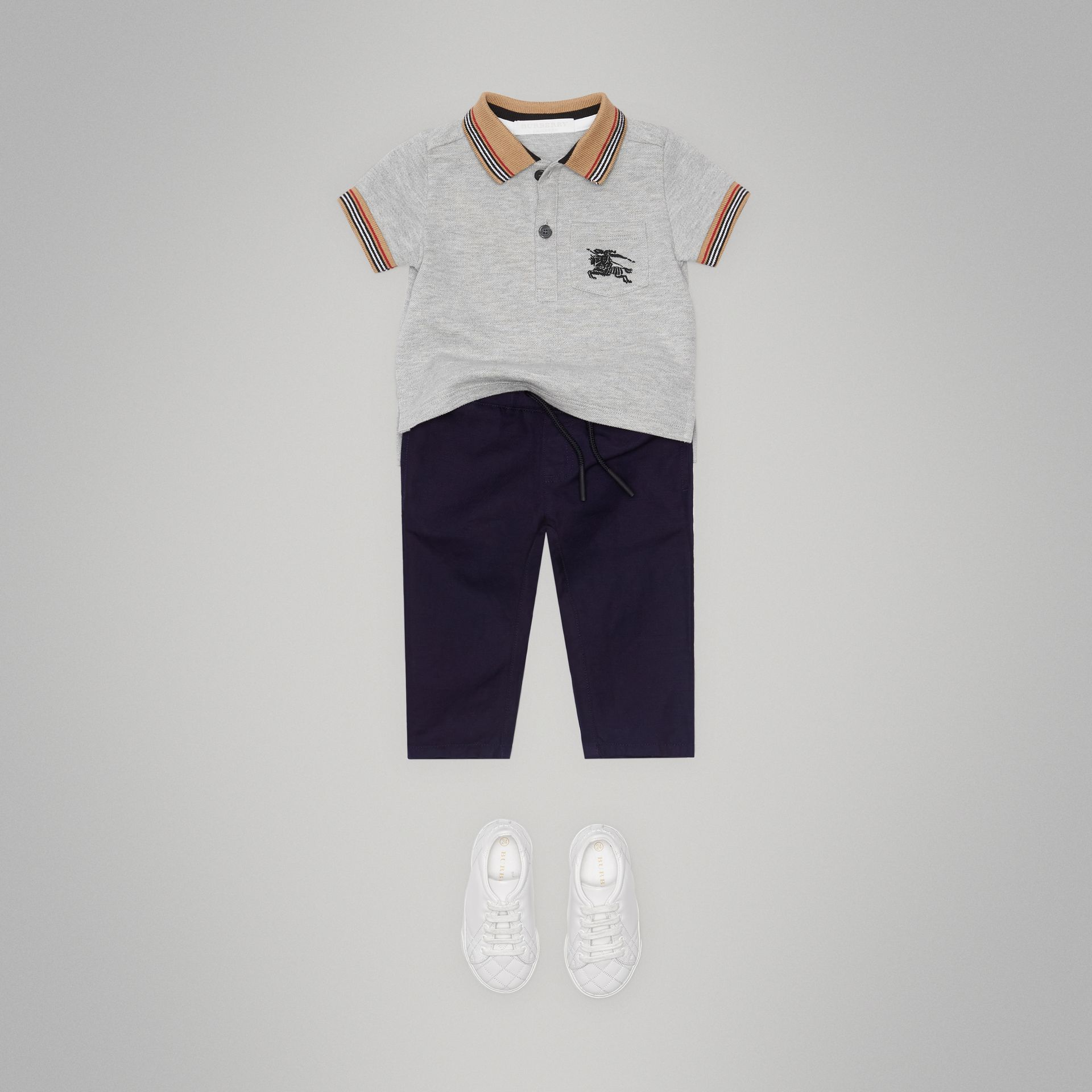 Cotton Linen Drawcord Trousers in Navy - Children | Burberry - gallery image 2