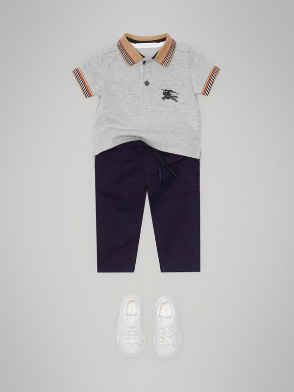 Cotton Linen Drawcord Trousers in Navy - Children | Burberry - cell image 2