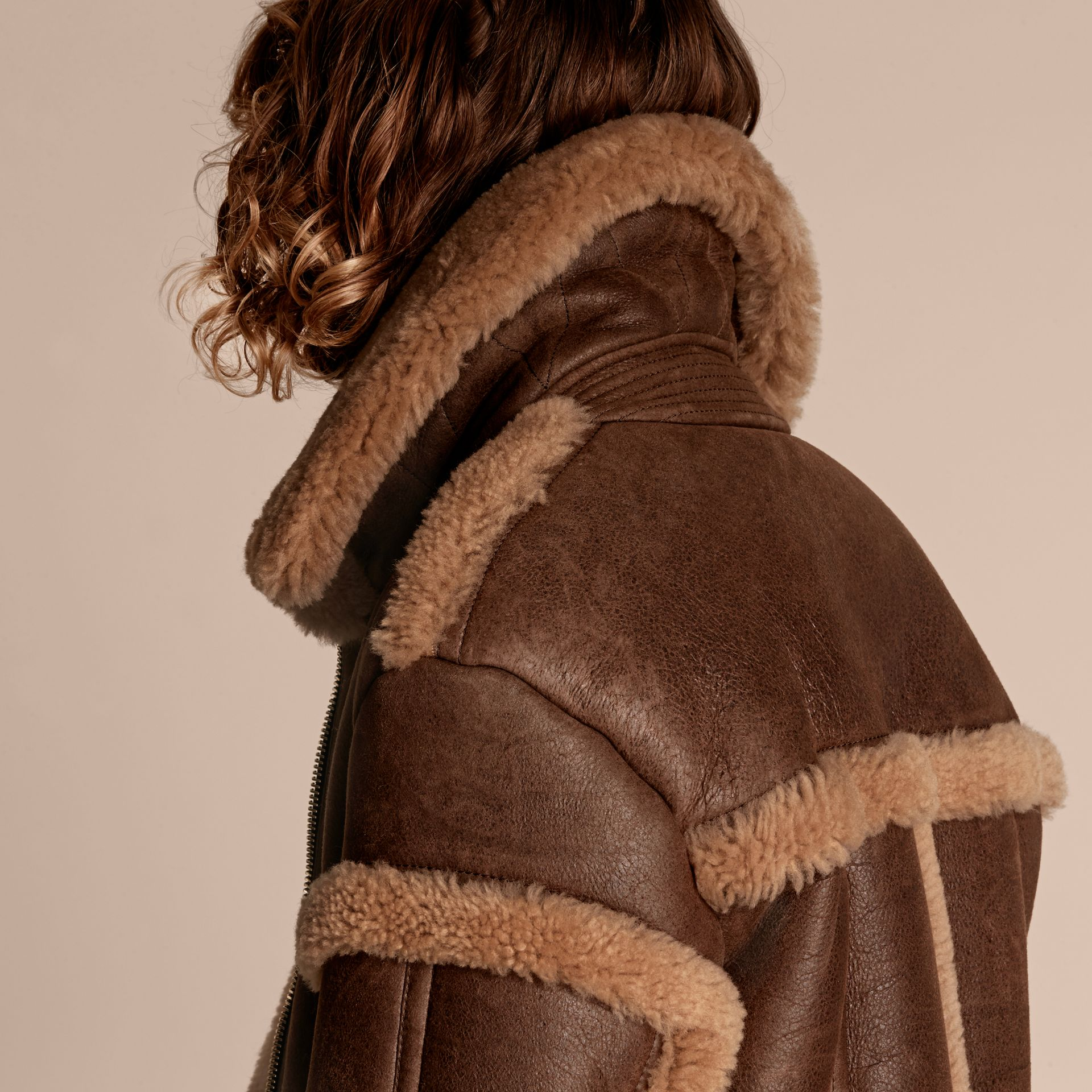 Dark tan/white Sculptural Shearling Flight Jacket - gallery image 5