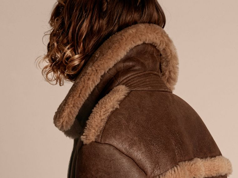 Dark tan/white Sculptural Shearling Flight Jacket - cell image 4