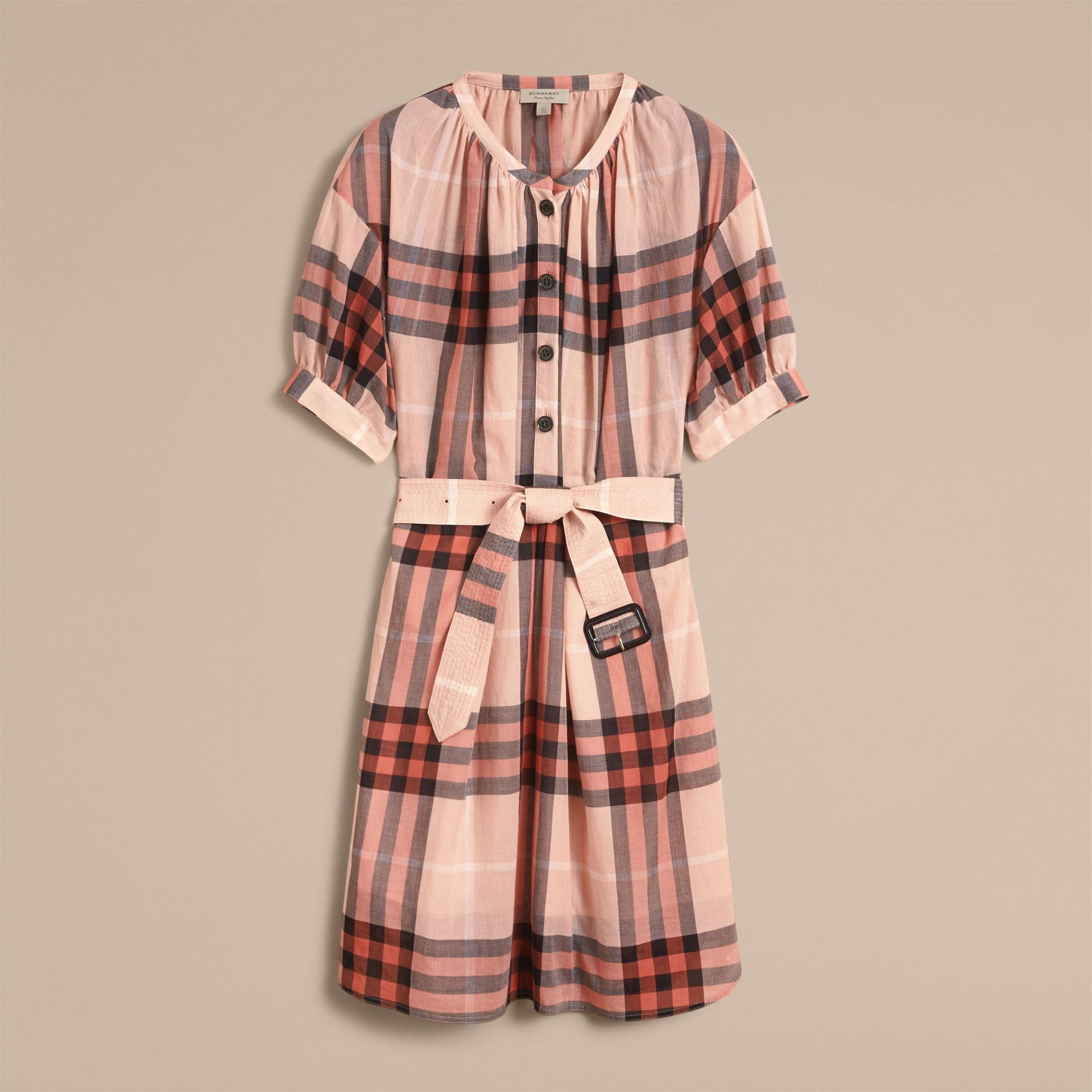 Short-sleeved Collarless Check Cotton Dress in Apricot - Women | Burberry - gallery image 4