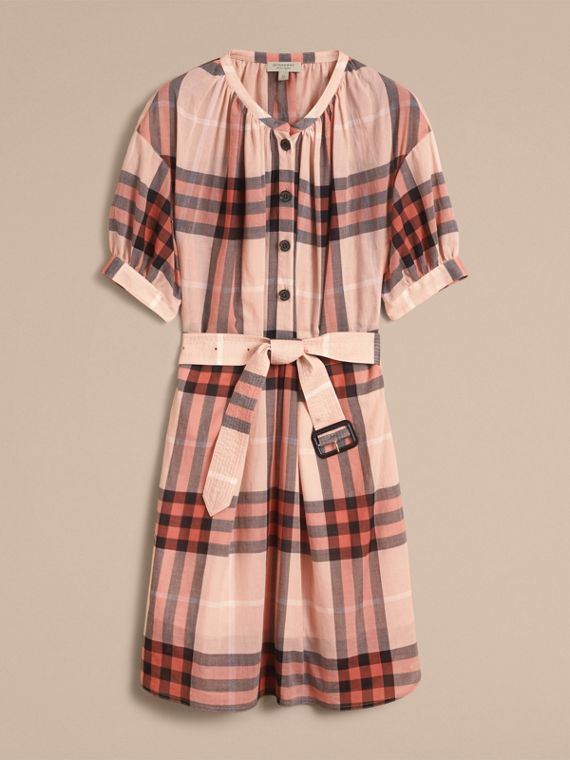Short-sleeved Collarless Check Cotton Dress in Apricot - Women | Burberry - cell image 3