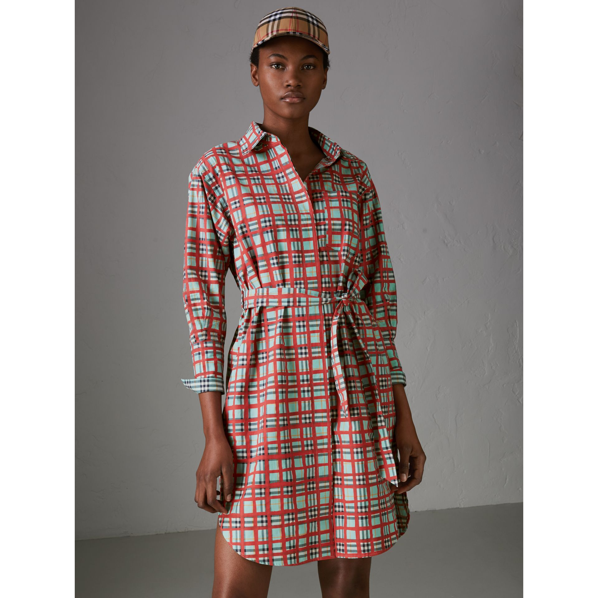 Painted Check Cotton Tie-waist Shirt Dress in Bright Aqua - Women | Burberry Canada - gallery image 4