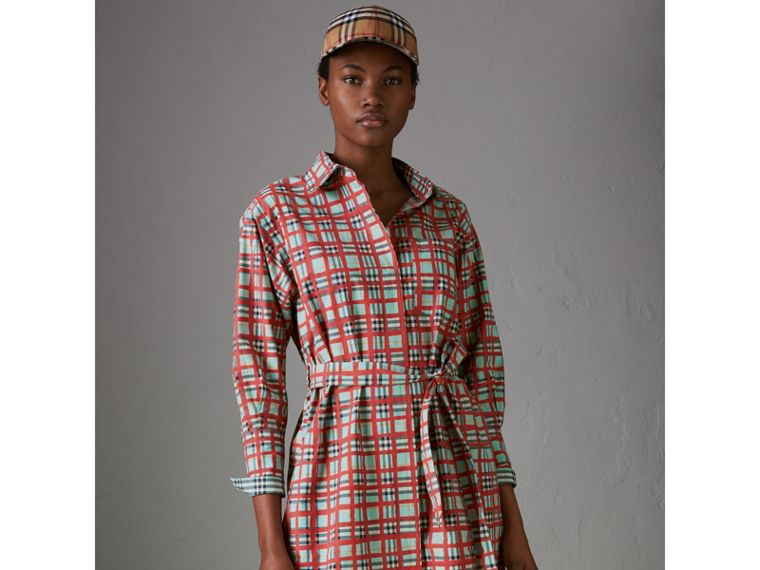 Painted Check Cotton Tie-waist Shirt Dress in Bright Aqua - Women | Burberry United States - cell image 4