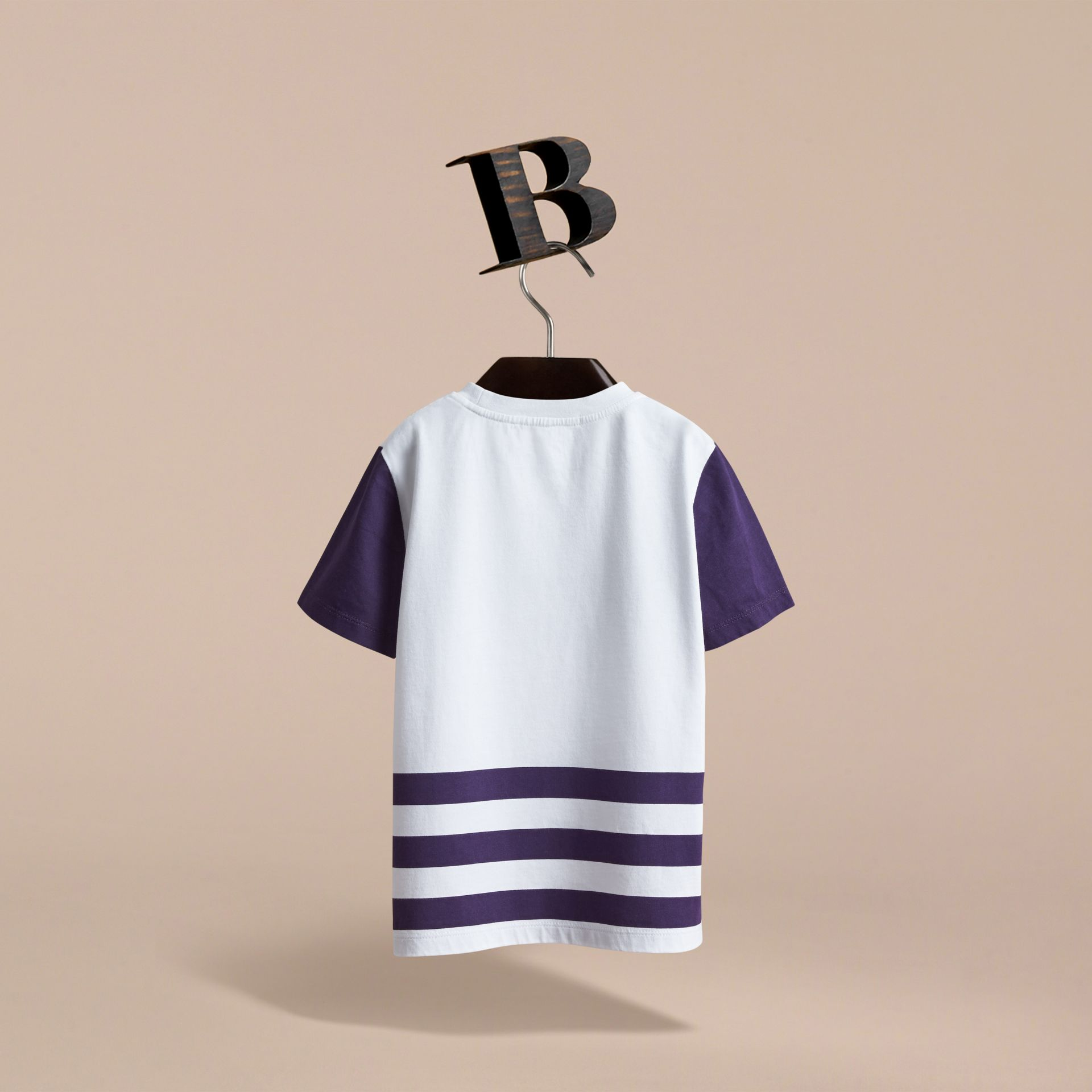 Bearded Gent Print Striped Cotton T-shirt in Bright Navy | Burberry - gallery image 4