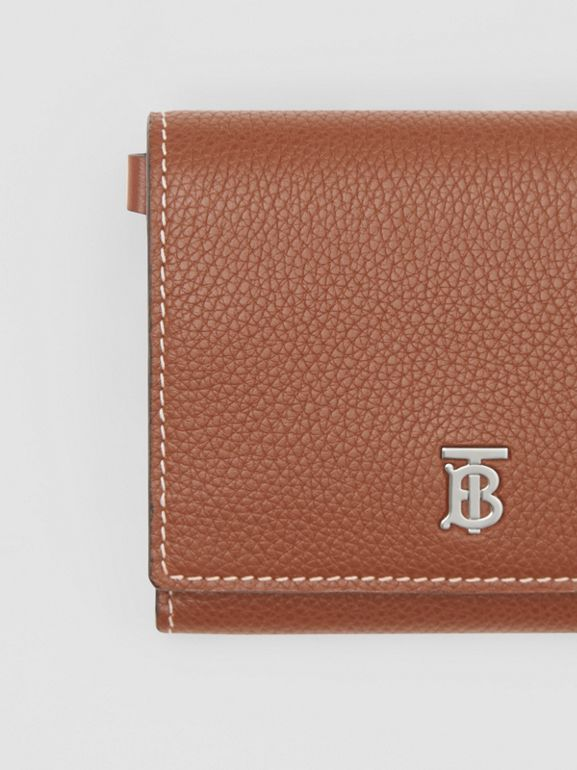 Small Grainy Leather Wallet with Detachable Strap in Tan | Burberry United Kingdom - cell image 1