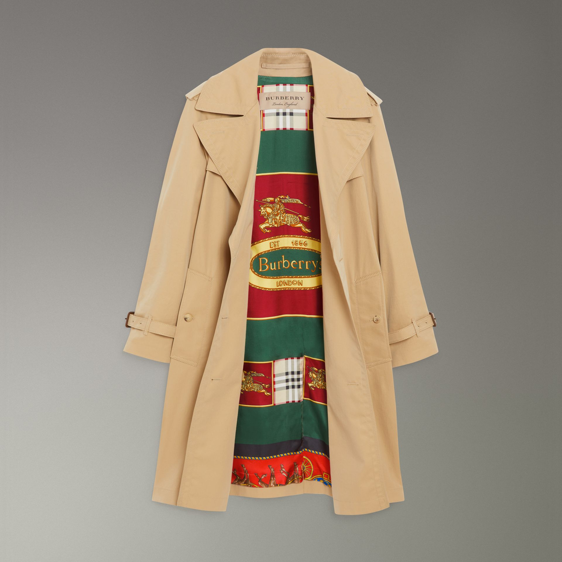 Scarf-print-lined Tropical Gabardine Trench Coat in Honey - Women | Burberry Canada - gallery image 3
