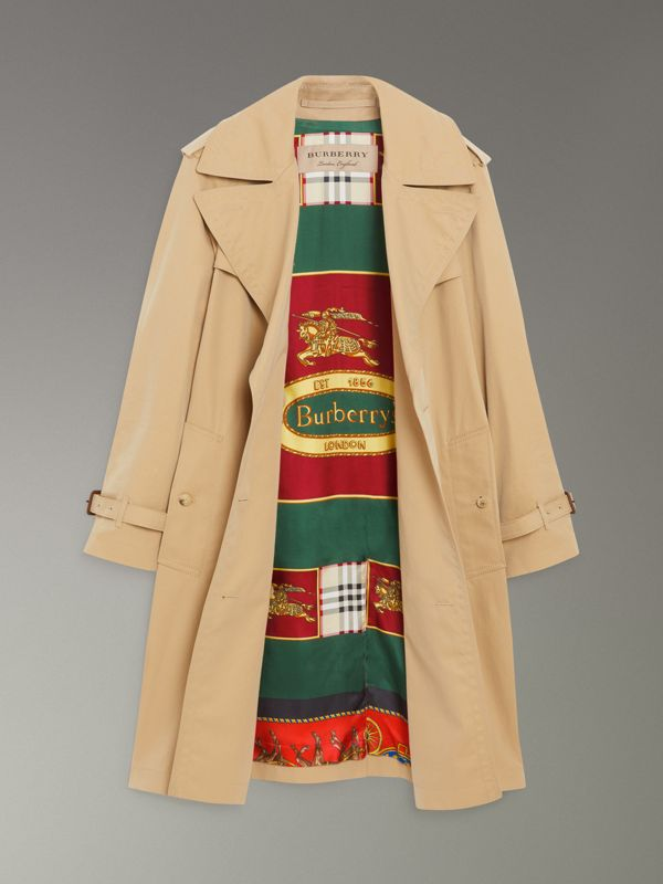 Trench coat in gabardine tropicale foderato con motivi d'archivio (Miele) - Donna | Burberry - cell image 3