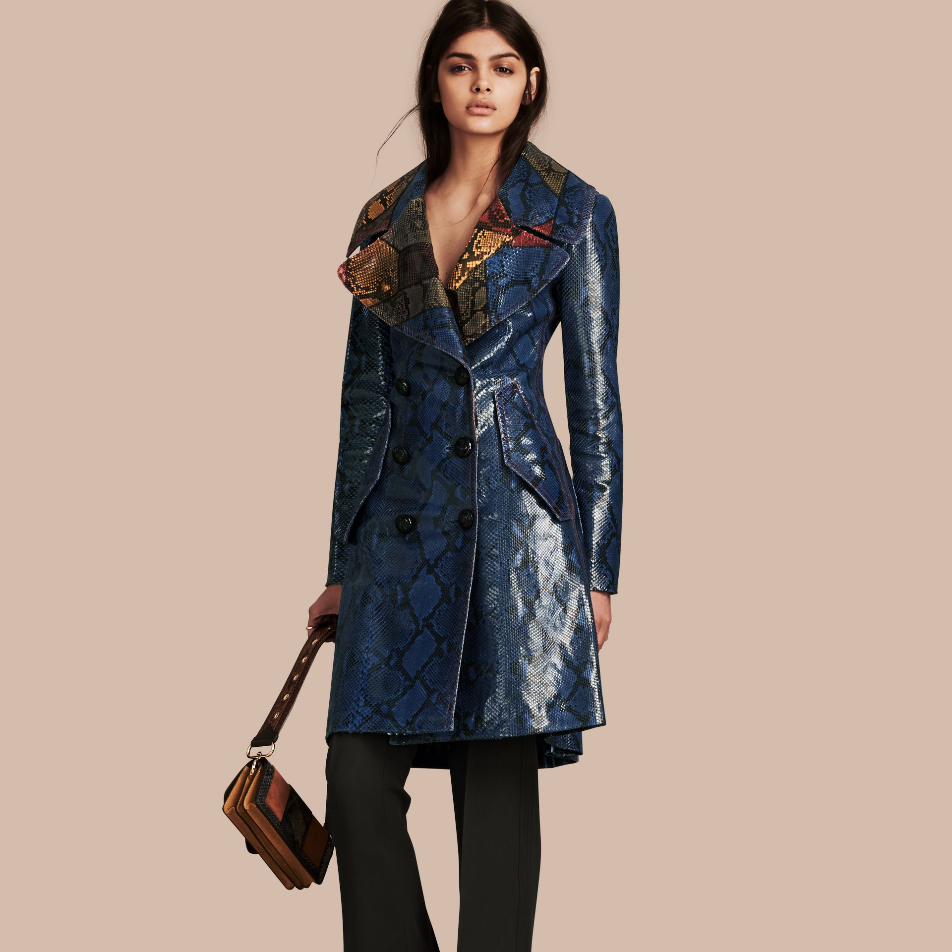 Mineral blue Regimental Glossy Python Coat - gallery image 1