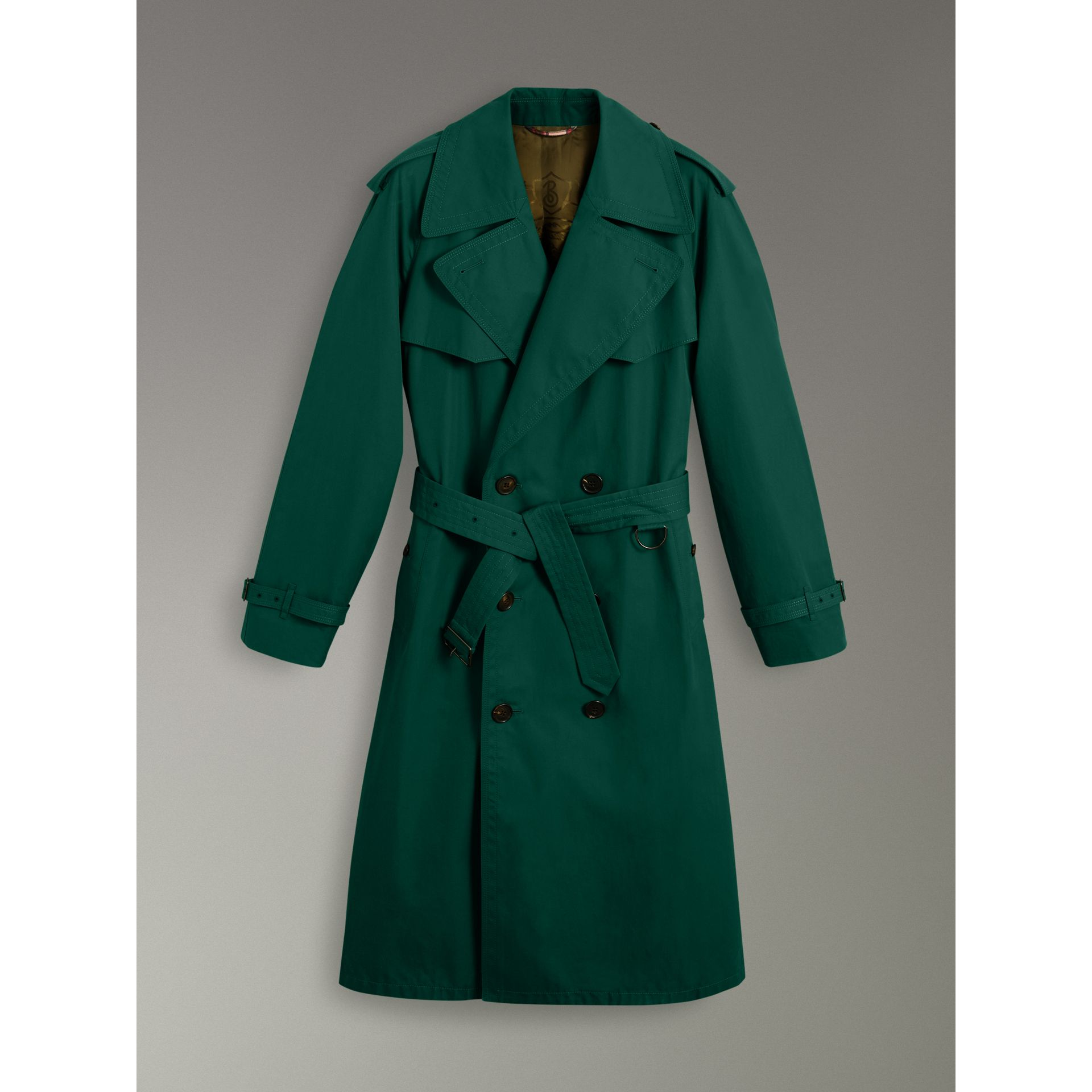 Gun-flap Detail Cotton Gabardine Trench Coat in Deep Veridian Green - Men | Burberry United Kingdom - gallery image 3
