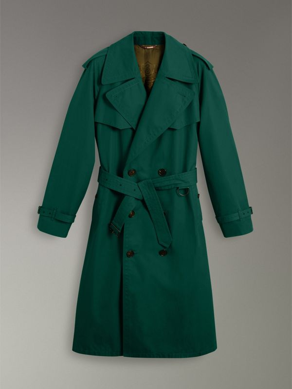 Gun-flap Detail Cotton Gabardine Trench Coat in Deep Veridian Green - Men | Burberry - cell image 3