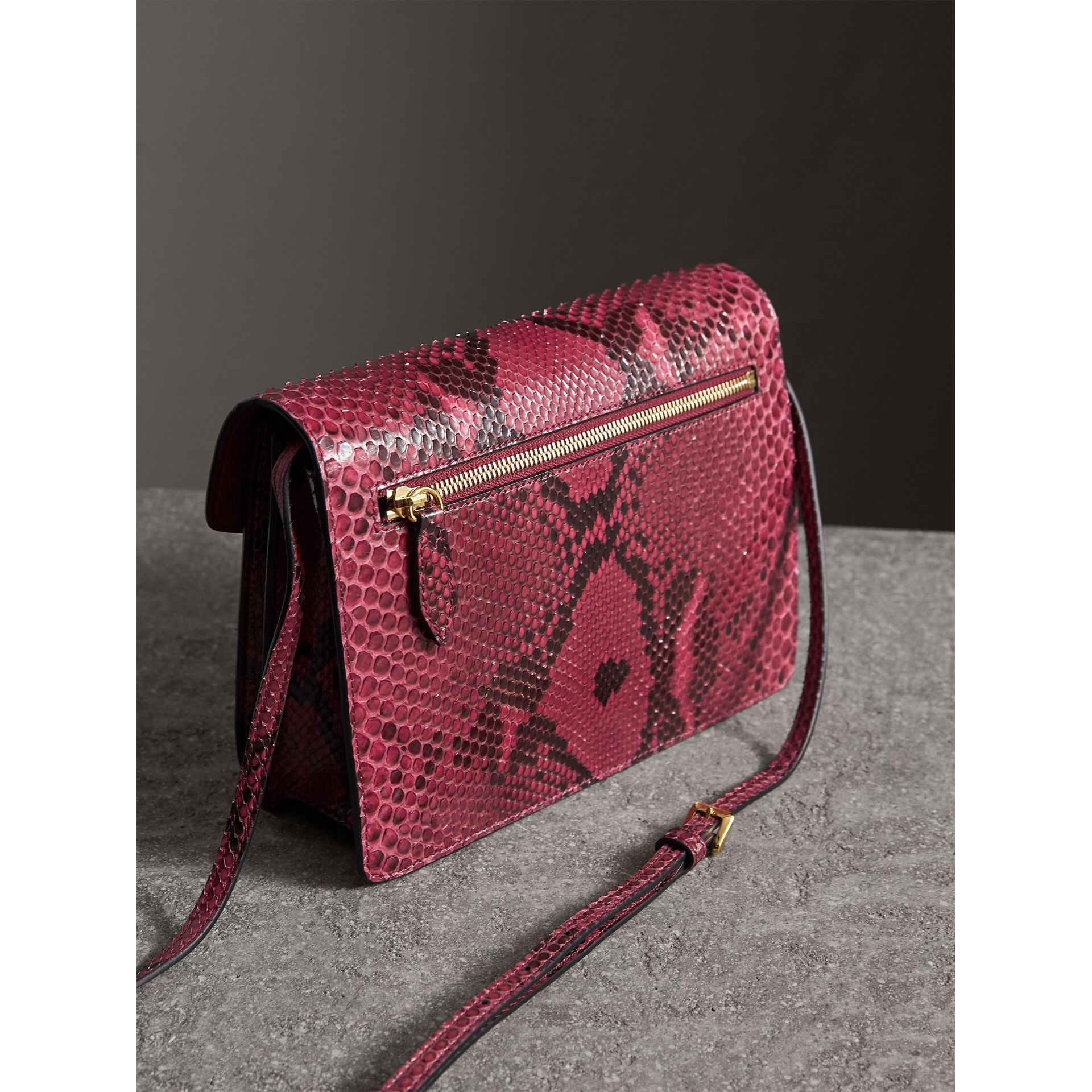 Small Python Crossbody Bag in Claret Pink - Women | Burberry - gallery image 4