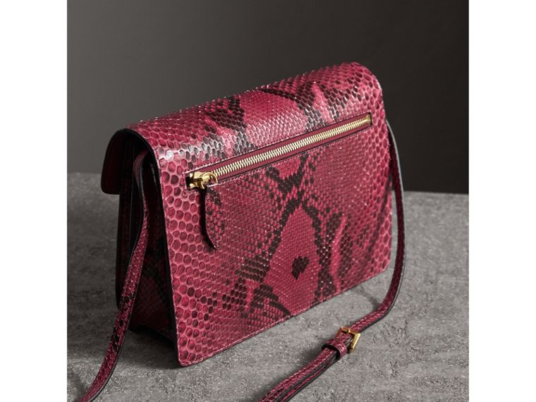 Small Python Crossbody Bag in Claret Pink - Women | Burberry - cell image 4