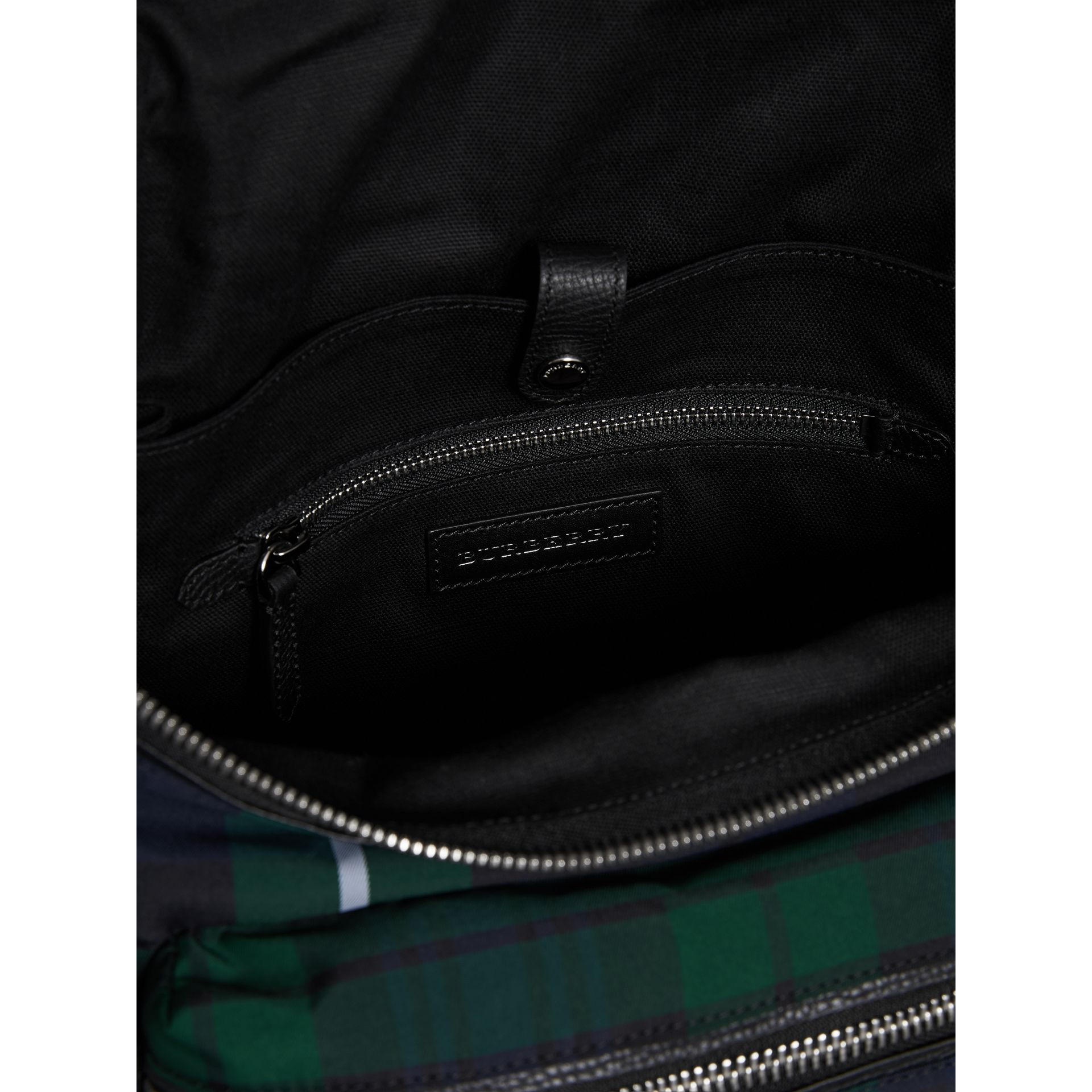 Zip-top Leather Trim Tartan Backpack in Forest Green - Men | Burberry Singapore - gallery image 5