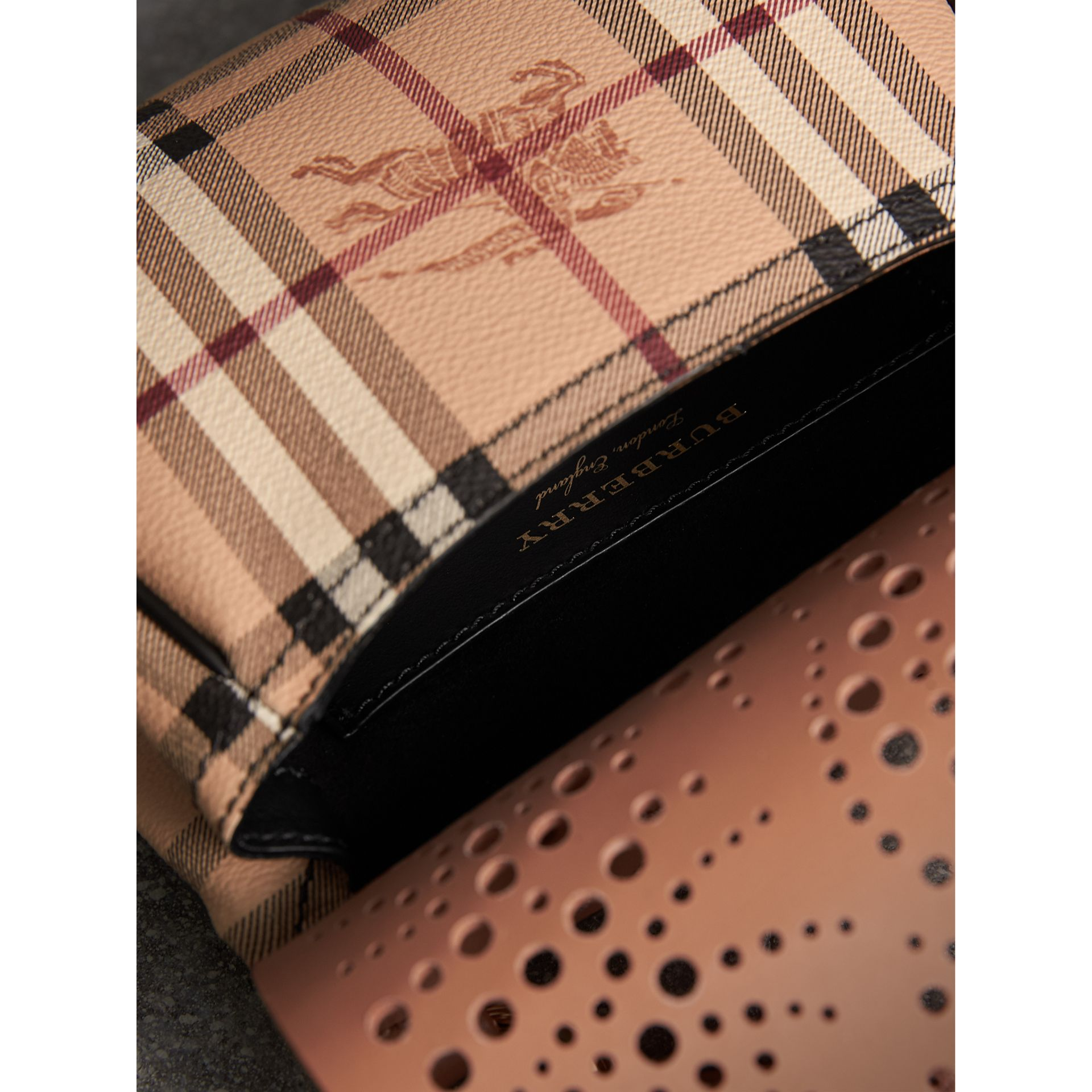 The Baby Bridle Bag in Leather and Haymarket Check in Pale Clementine - Women | Burberry - gallery image 5