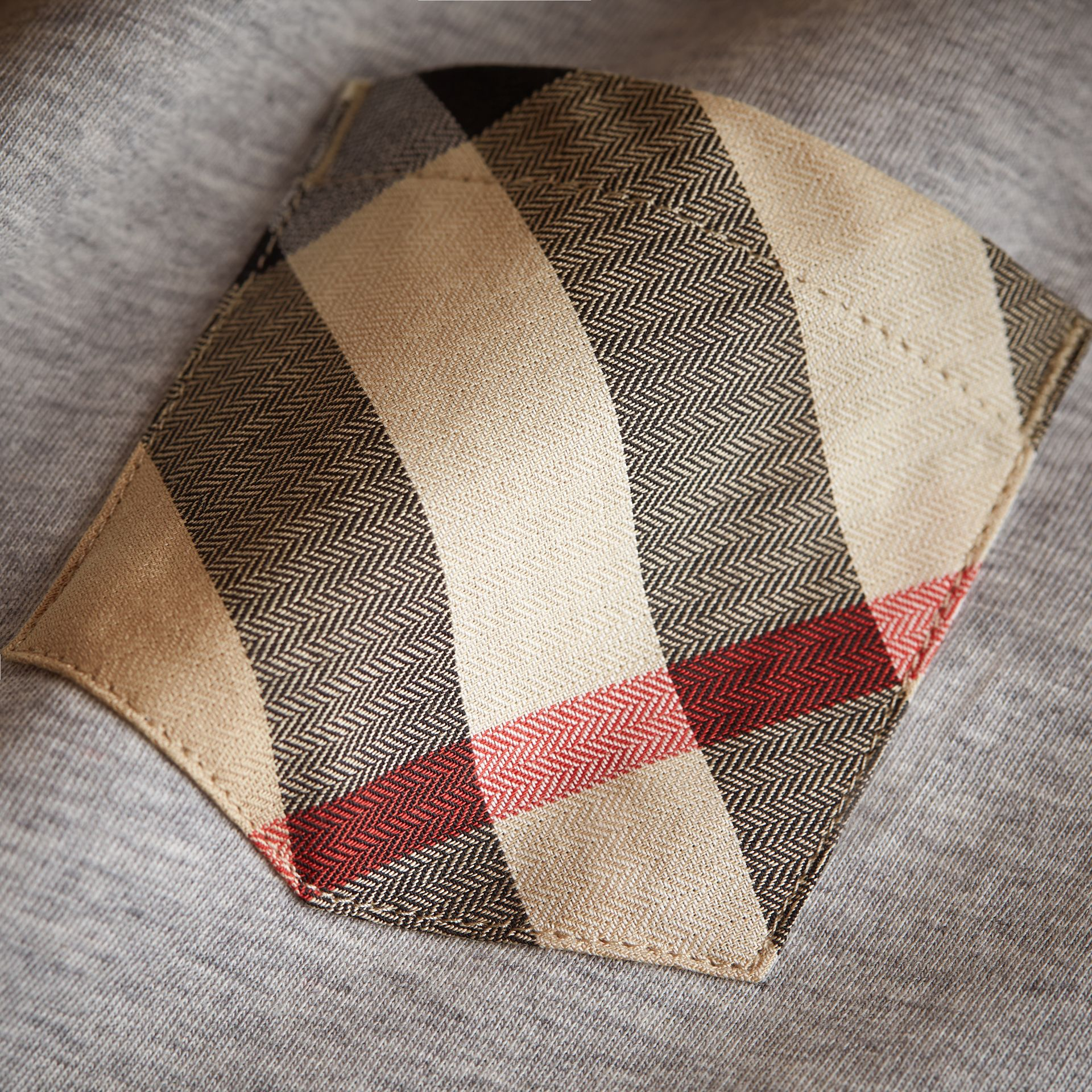Long-sleeve Check Pocket Cotton T-shirt in Grey Melange - Boy | Burberry - gallery image 2