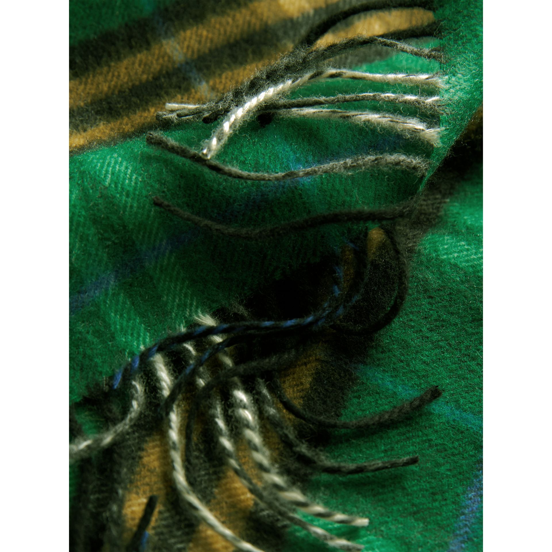 Check Cashmere Scarf in Forest Green | Burberry Australia - gallery image 4