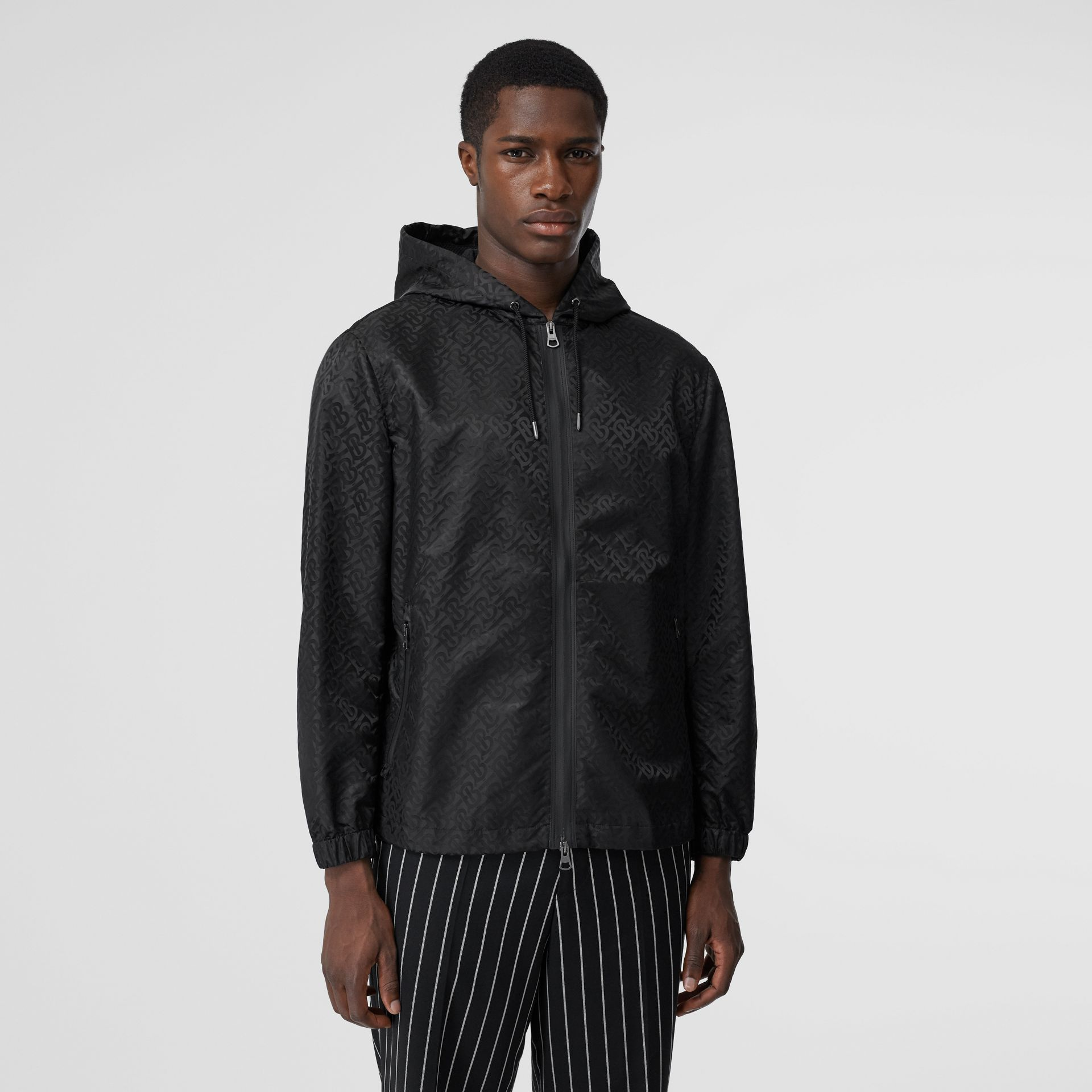 Monogram ECONYL® Jacquard Hooded Jacket in Black - Men | Burberry - gallery image 4