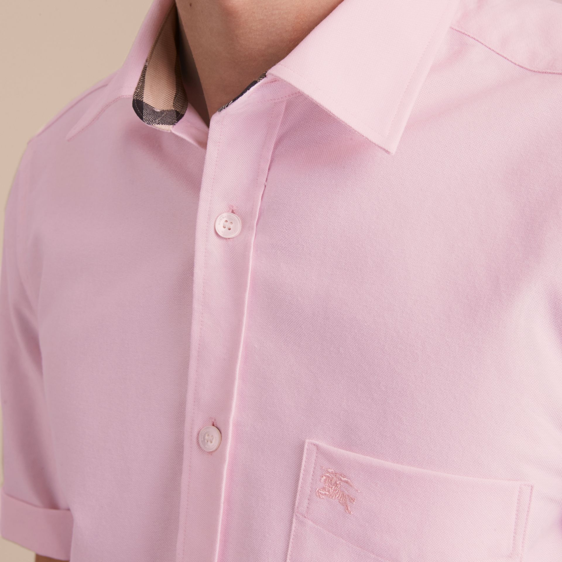 Check Detail Short-Sleeved Cotton Oxford Shirt in Pale Pink - gallery image 5