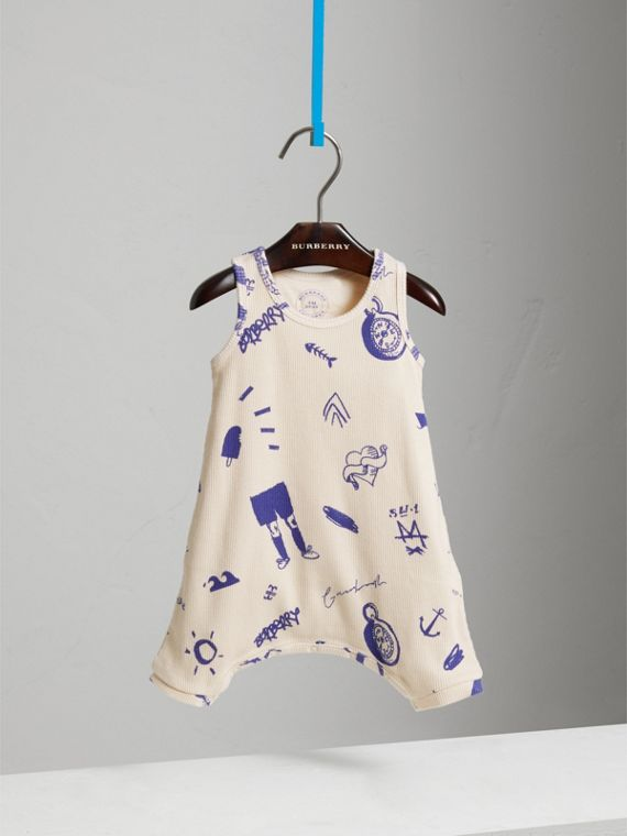 Adventure Print Cotton Jersey Bodysuit in Stone