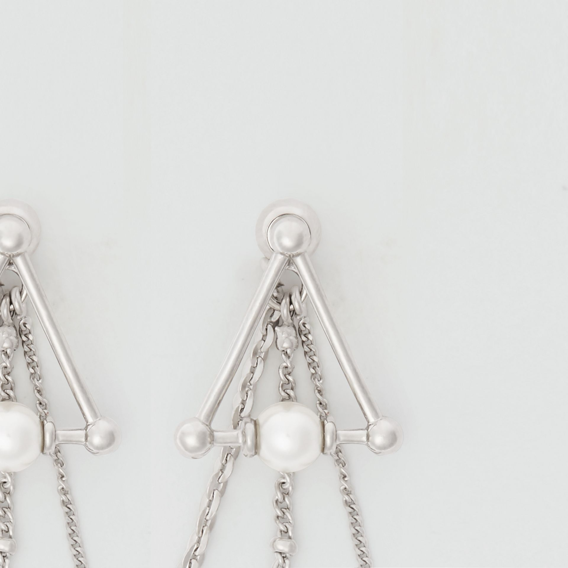 Faux Pearl and Triangle Palladium-plated Drop Earrings in Palladio - Women | Burberry Canada - gallery image 1