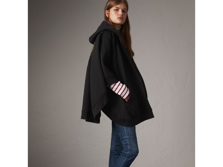 Beasts Motif Hooded Sweatshirt Poncho in Black - Women | Burberry - cell image 4