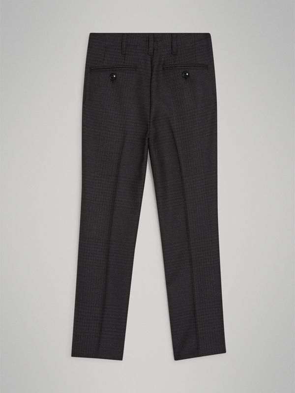 Prince of Wales Check Wool Tailored Trousers in Dark Grey | Burberry Australia - cell image 3