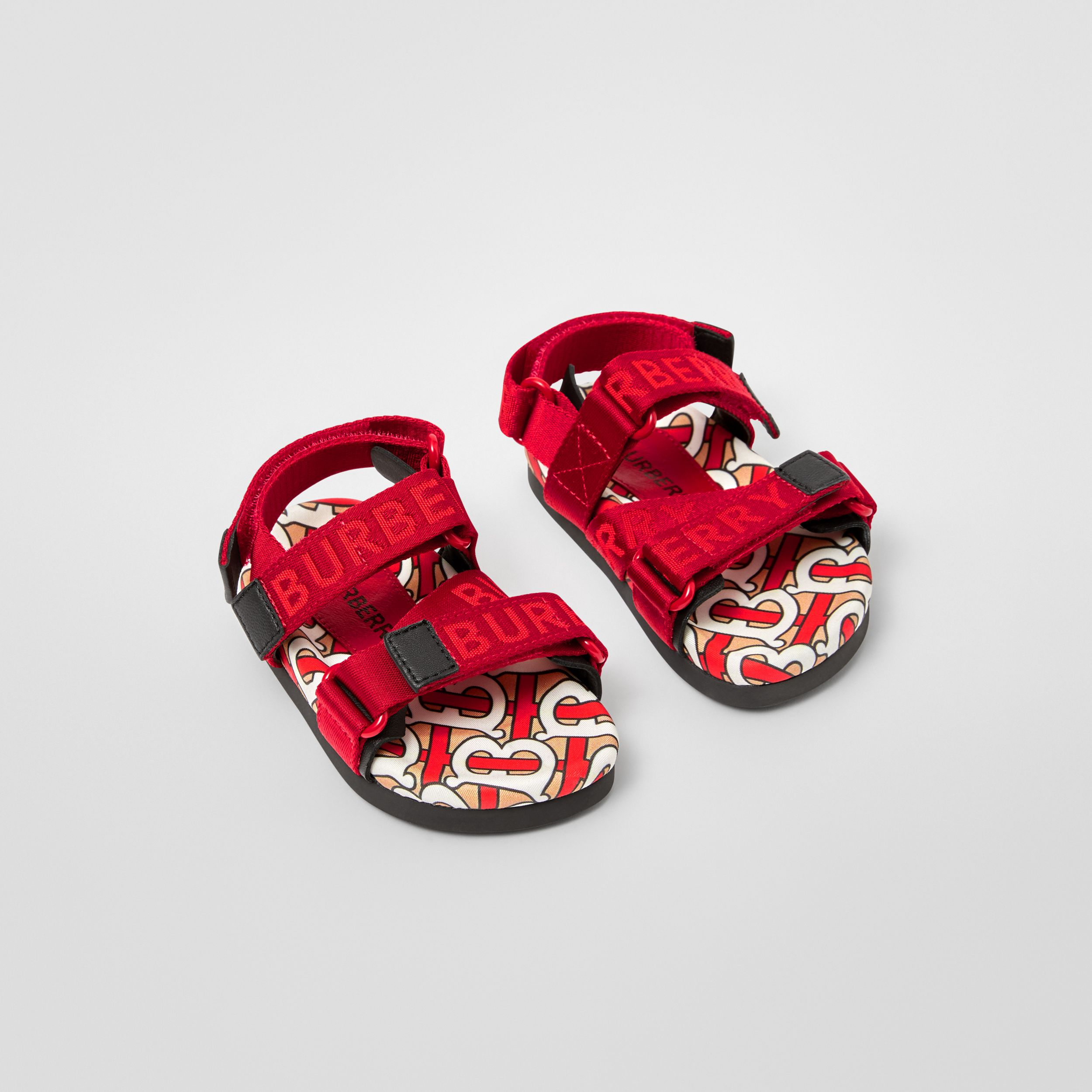 Monogram Print Cotton Gabardine Sandals in Bright Red - Children | Burberry - 1