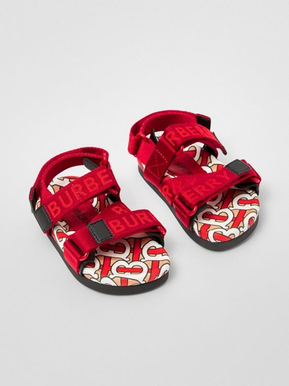 Monogram Print Cotton Gabardine Sandals in Bright Red