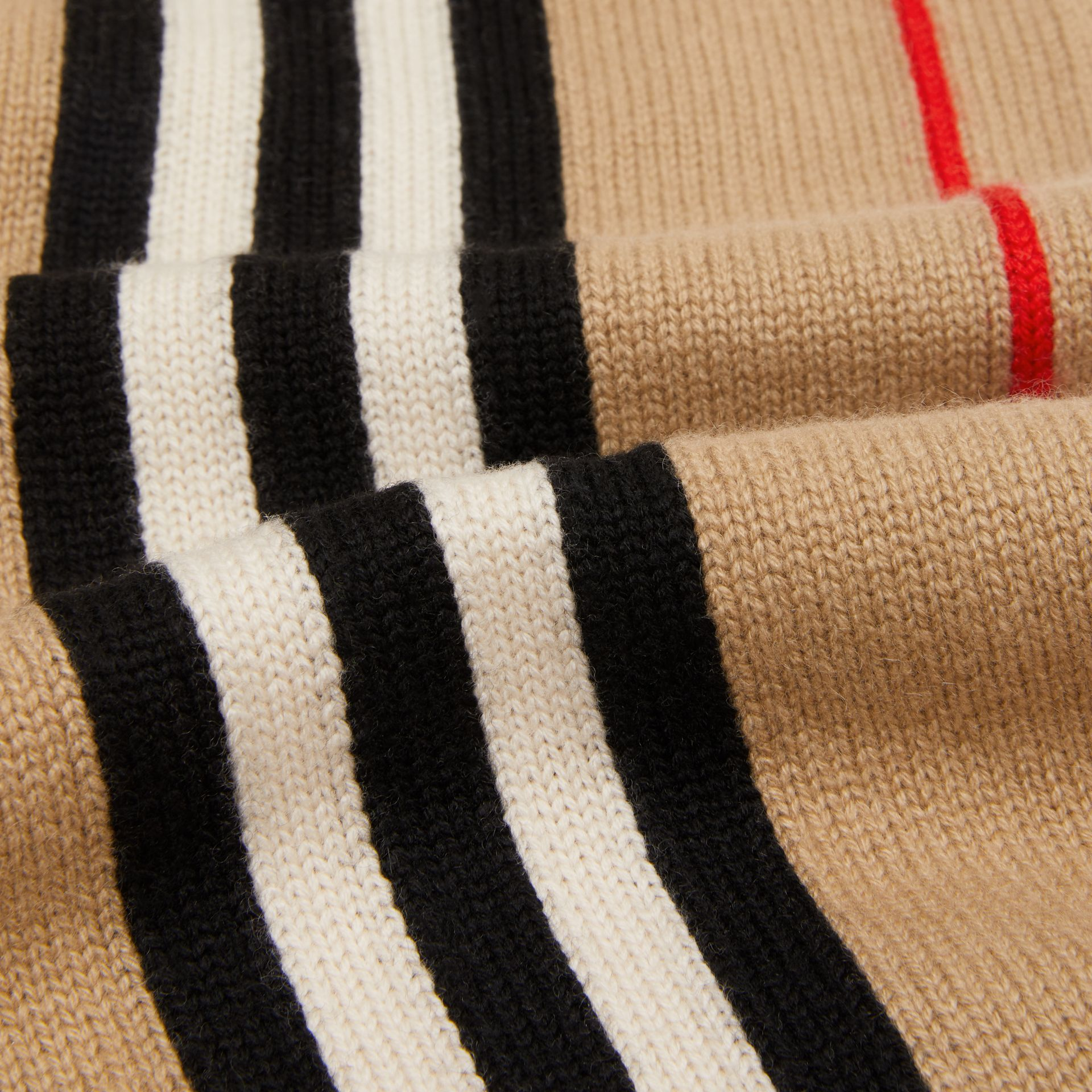 Icon Stripe Cashmere Wool Scarf in Archive Beige - Children | Burberry Australia - gallery image 1