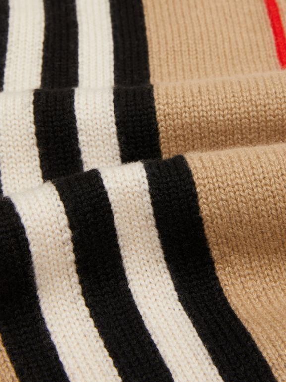 Icon Stripe Cashmere Wool Scarf in Archive Beige - Children | Burberry Australia - cell image 1