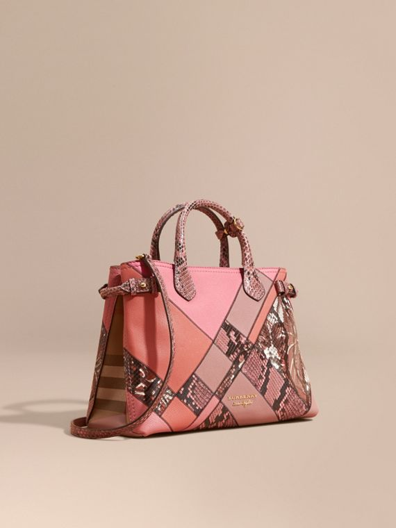 The Medium Banner in Patchwork Leather and Python in Dusty Pink - Women | Burberry