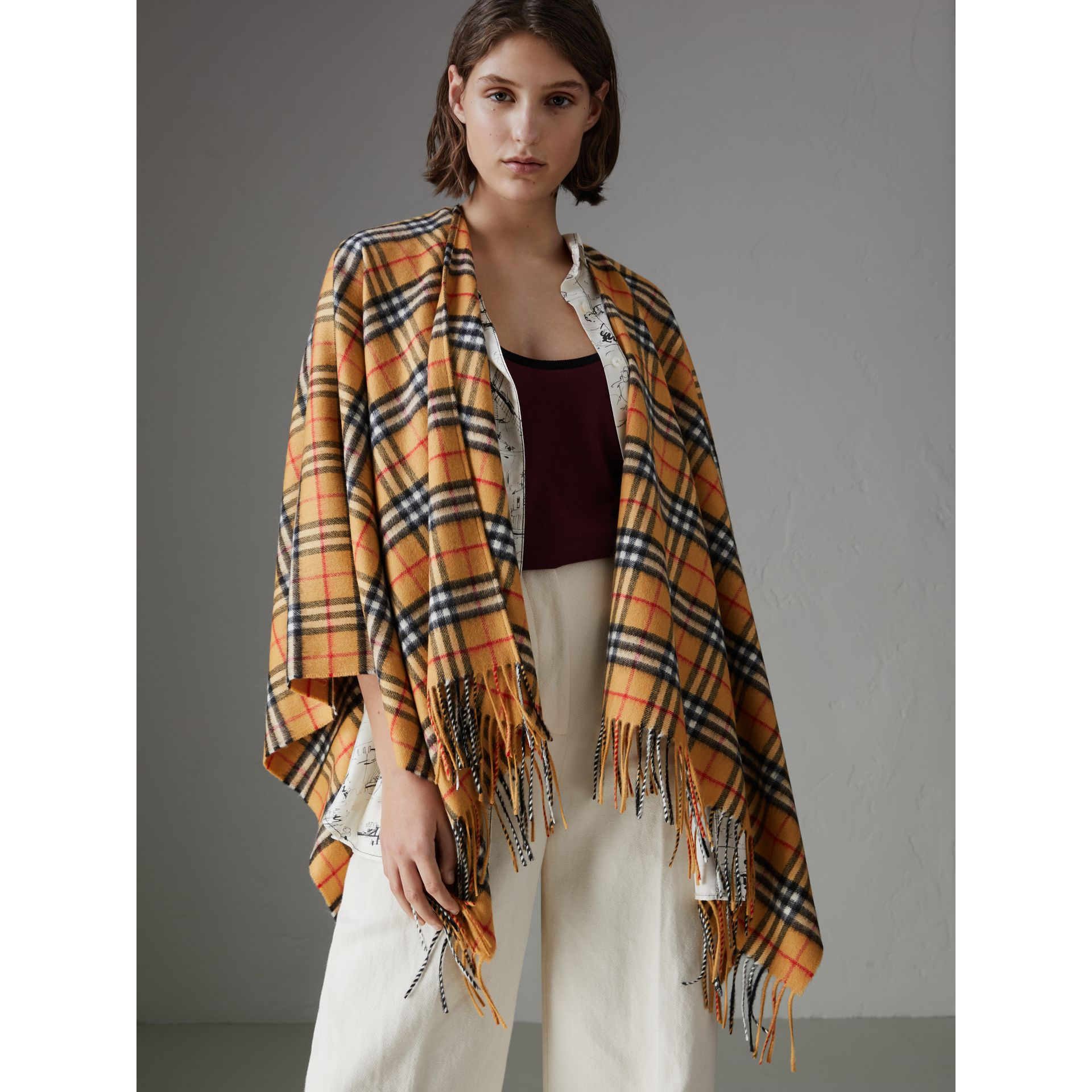 Vintage Check Cashmere Wool Poncho in Antique Yellow - Women | Burberry - gallery image 4