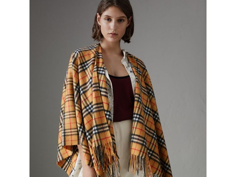 Vintage Check Cashmere Wool Poncho in Antique Yellow - Women | Burberry - cell image 4