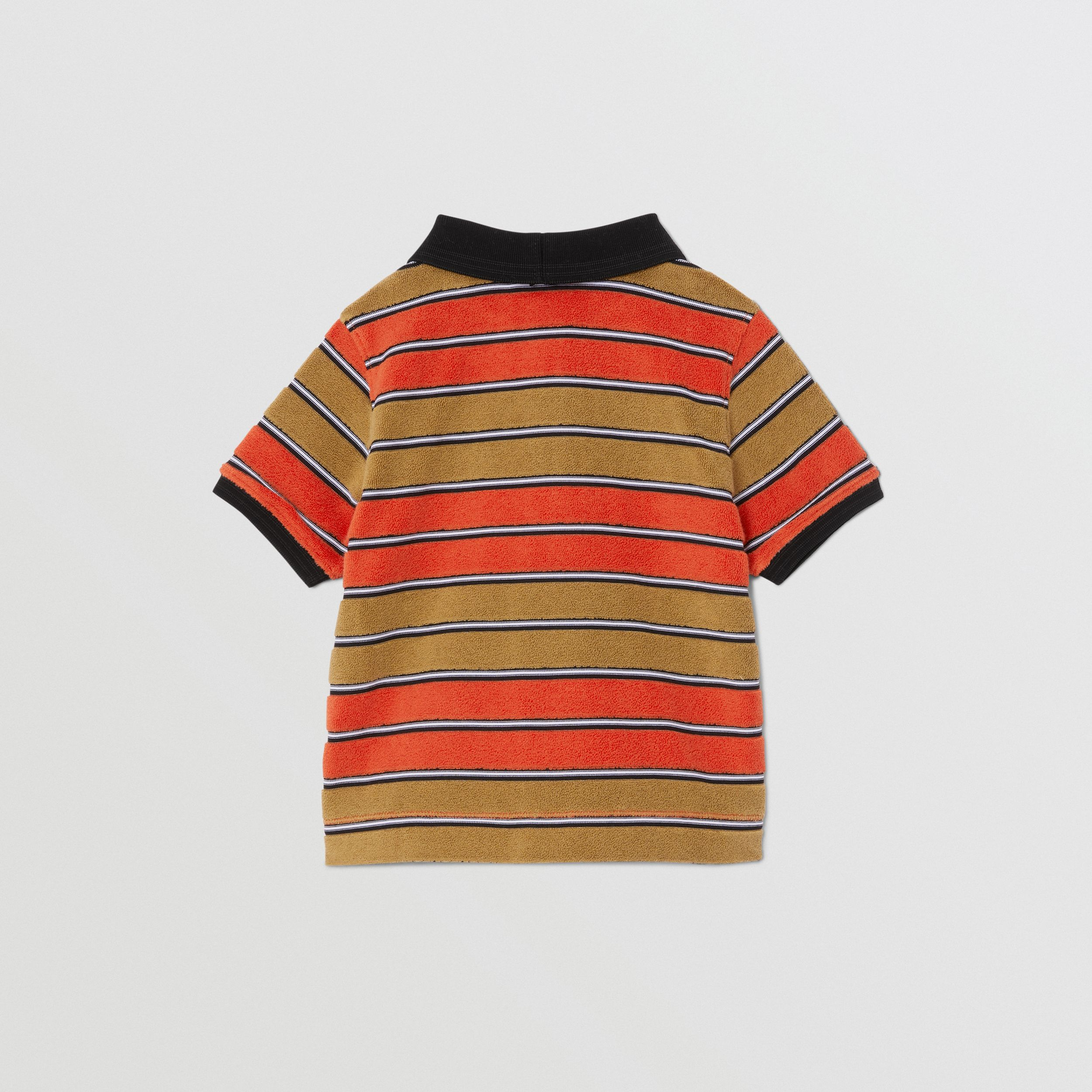 Logo Appliqué Striped Towelling Polo Shirt in Vermilion Red - Children | Burberry United Kingdom - 4