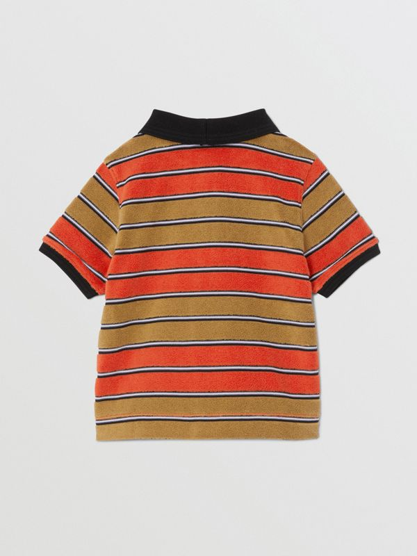 Logo Appliqué Striped Towelling Polo Shirt in Vermilion Red - Children | Burberry - cell image 3