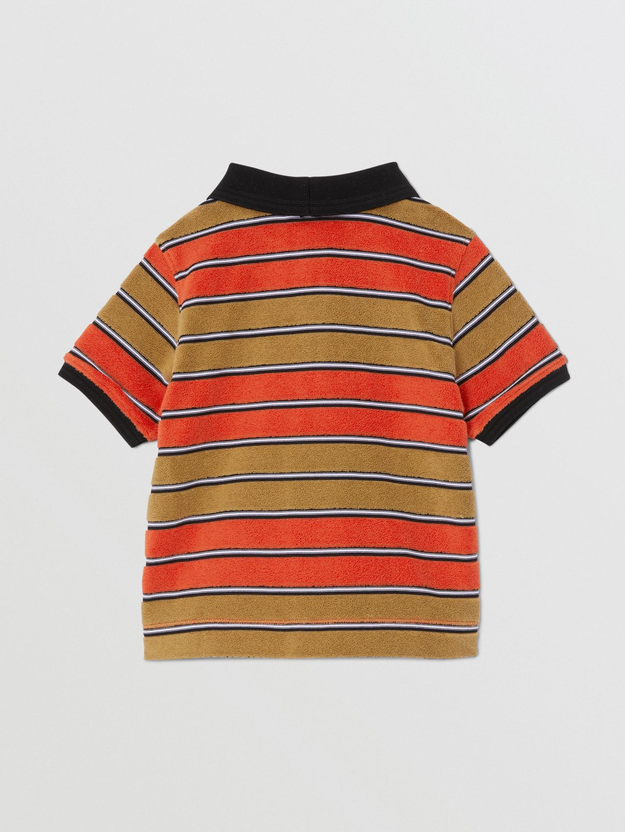 Logo Appliqué Striped Towelling Polo Shirt in Vermilion Red