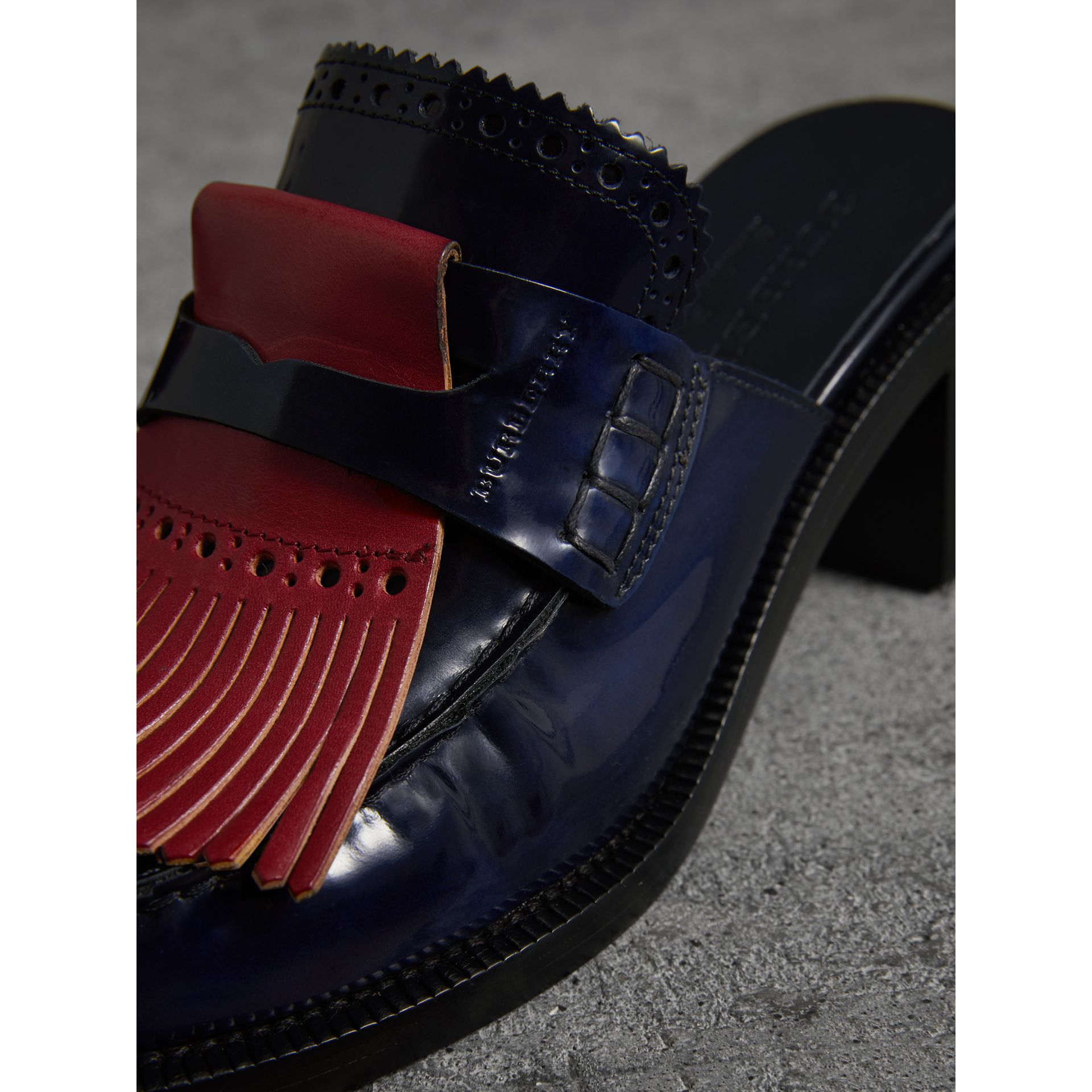 Contrast Kiltie Fringe Leather Block-heel Mules in Navy - Women | Burberry United Kingdom - gallery image 1